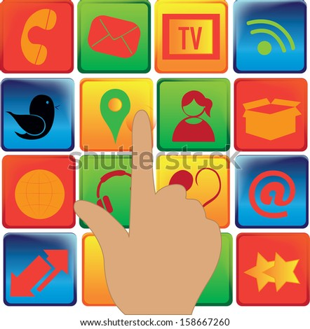 a lot of colored icons for social media with a hand - stock vector