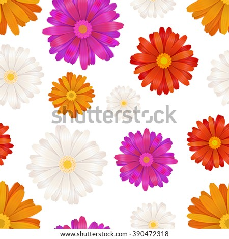 A lot of colourful gerbera flowers isolated on white, seamless pattern