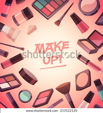 A lot of cosmetics for makeup. Vector illustration. - stock vector