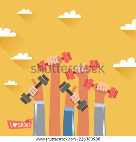 A lot of hands hold dumbbells. Sport revolution concept. Vector colorful illustration in flat design - stock vector