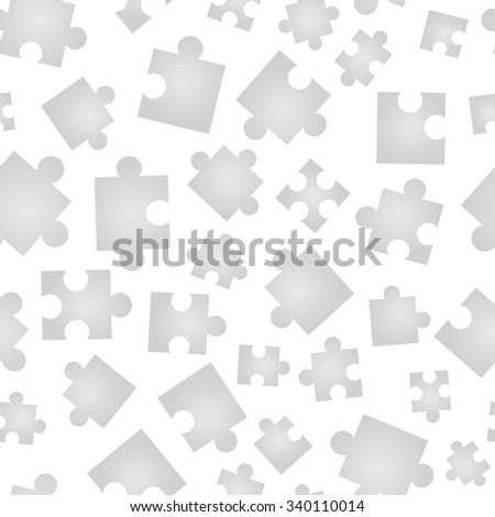 A lot of Jigsaw pieces in different positions isolated on white seamless pattern