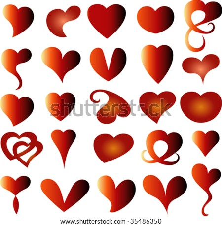 a lot of kind of heart for valentine day - stock vector
