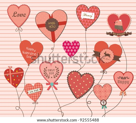 A Lot of Love Shapes Balloon Beautiful Background. Valentine's Day. - stock vector