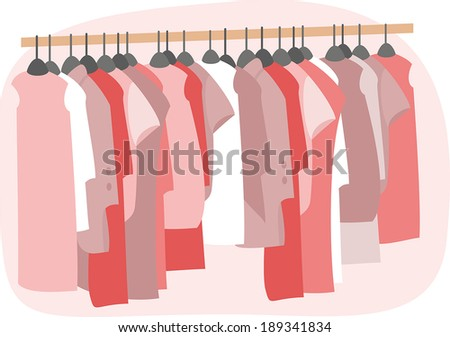 A lot of red clothing on hangers