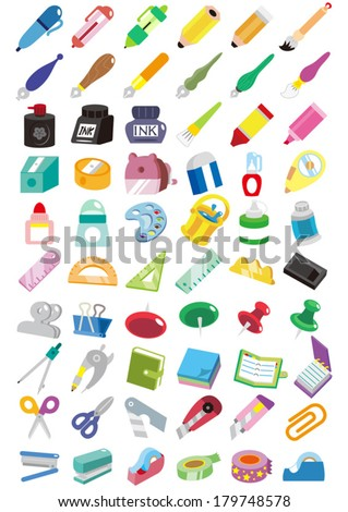 A lot of stationery items - stock vector