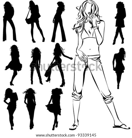 A lot of vector black silhouettes of beautiful womans on white background
