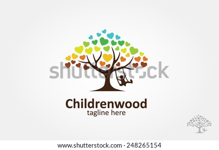 A love tree with a child play the swing under the tree, this logo symbolize a protection, peace,tranquility, growth, and care or concern to development - stock vector