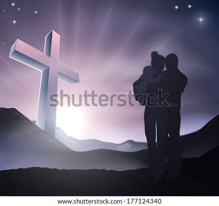 A loving Christian family with a cross in a mountain landscape with sunrise over mountains, Christian lifestyle or Easter concept