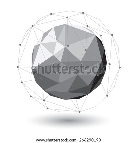 A low poly vector orb surrounded by a line work cage. - stock vector