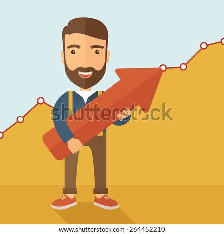 A lucky young  hipster Caucasian man with beard cheerfully carrying a red arrow pointing upward showing for his successful plan in business. Business growth, prosperity concept. A contemporary style - stock vector