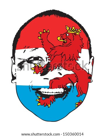 A Luxembourg flag on a face, isolated against white.  - stock vector
