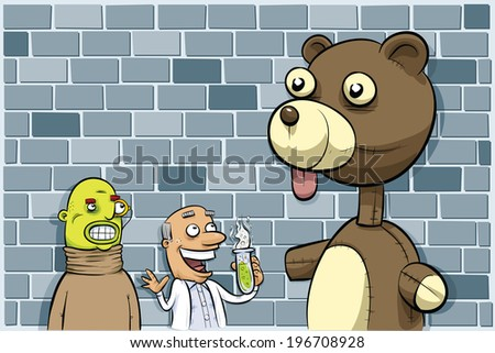 A mad scientist and his sidekick with their giant, monster teddy bear creation. - stock vector