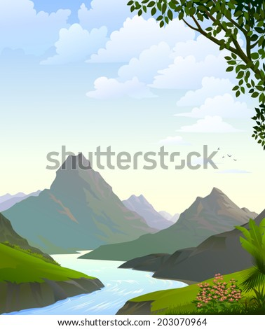 A magnificent view of mountains along the river banks and lush green outfields during daytime  - stock vector