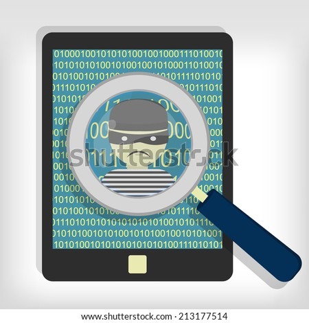 A magnifying glass detected a hacker (thief) on tablet. Hacker detected on tablet - stock vector