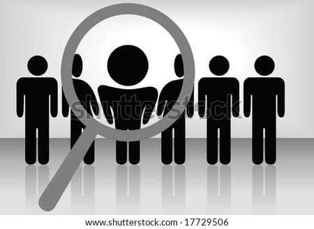 A magnifying glass finds, selects or inspects a person in a line of people: search & choose for employment, recognition, promotion,  hire, etc. - stock vector