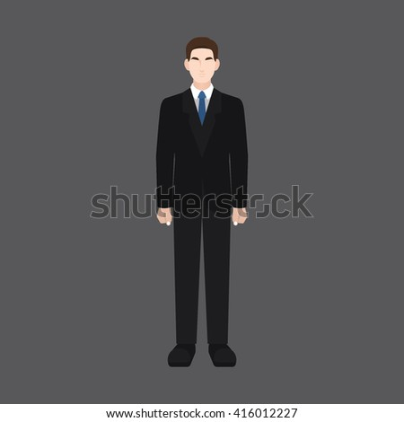 A male avatar of professions people. Front view. Full body. Flat style icons. Occupation avatar. Business man / boss / employer icon. Vector illustration
