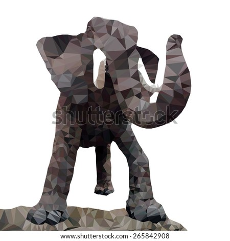 A male elephant, low poly vector illustration.  - stock vector
