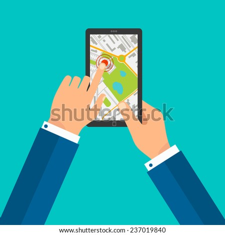 A male hand holding a touchpad gps, one finger touches the screen - stock vector