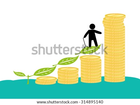 A Male Pensioner or A Person with Disability with his Investments or Savings. - stock vector