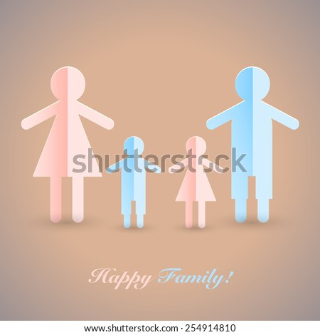A man, a woman, a son and a daughter. Vector people pictogram. Flat icon of a happy family with children. - stock vector
