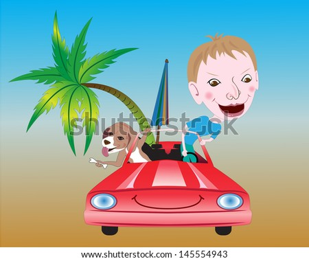 A man and a dog is traveling by car