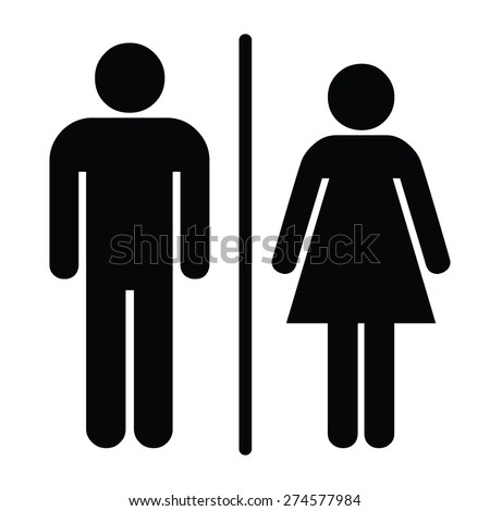 A man and a lady toilet sign - stock vector