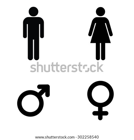 A man and a lady toilet sign and male and female symbols - stock vector
