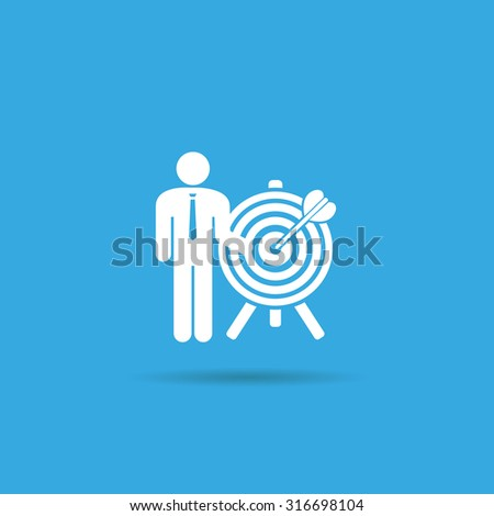 a man and a target icon. achieving the goal. search employees - stock vector