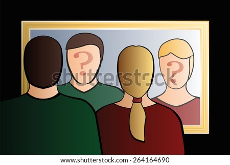 """A man and a woman are looking into the mirror asking """"Who are we?"""". In their face is a big question mark to bring ones consciousness into question. Isolated vector illustration on black background.  - stock vector"""