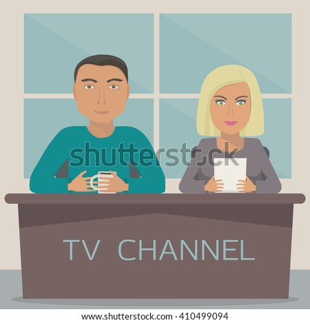 A man and a woman  are on the telecast in the studio. Image with 2 anchor mans on tv channel. Talk show. Vector illustration. - stock vector