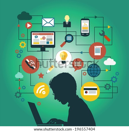 A man at the home computers surrounded by icons. Concept of communication in the network  - stock vector