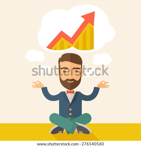 A man closing his eyes thinking about on how the business will grow. Business concept. A Contemporary style with pastel palette, soft beige tinted background. Vector flat design illustration. Square - stock vector