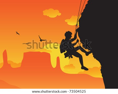 a man doing rock climbing - stock vector