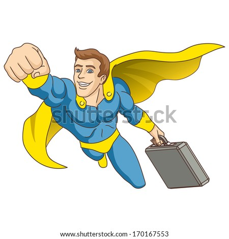 A man dressed as a super hero. Super hero, in whose hands is the briefcase, is flying ahead. Vector illustration.