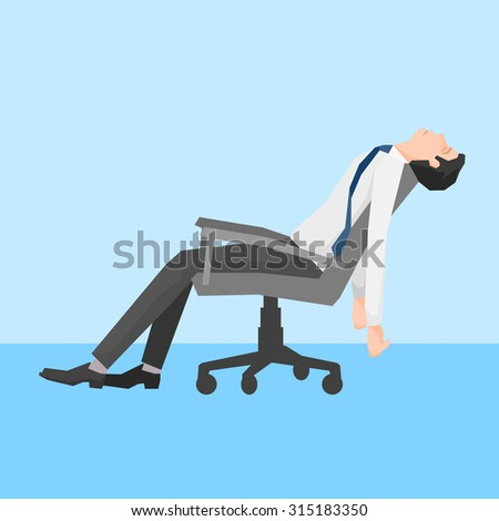 A man exhausted on a chair, simple design, vector illustration. - stock vector