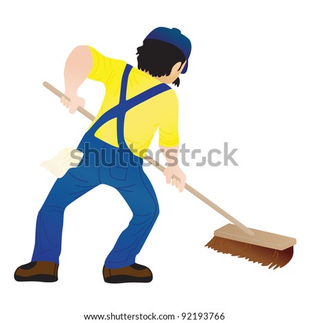 A man holding a mop and cleaning the floor - stock vector