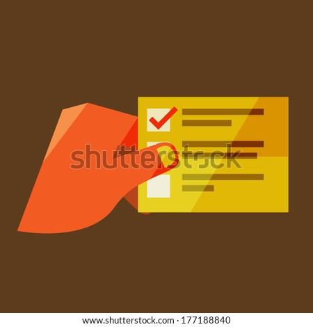 A man holds a list. Flat design modern vector illustration stylish colors of hand holding a business card   - stock vector