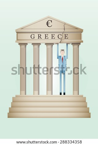 A man holds breaking greece temple by the weight of euro - stock vector