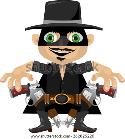 a man in a black mask and hat with two revolvers from the wild West - stock vector
