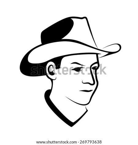 Cowboy Profile Stock Illustration 670390027
