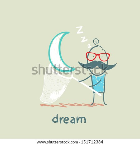 a man in a dream star catches a butterfly net - stock vector