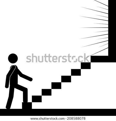 A man is climbing the stairs to reach the light. It is a stick figure vector. EPS10  - stock vector