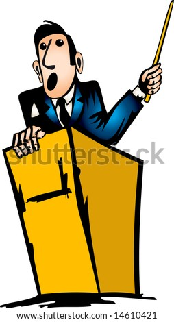 A man is making a speech. Vector illustration