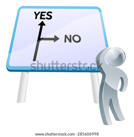 A man looking up at a direction road sign with the words yes and no on it - stock vector
