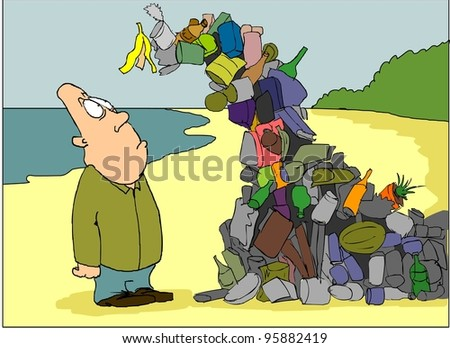 A man looks at the wave of waste on the beach - stock vector