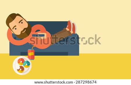 A man lying in the sofa holding a remote with three donuts and soda on the floor. Relaxing concept. A Contemporary style with pastel palette, soft beige tinted background. Vector flat design - stock vector