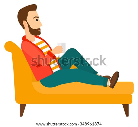 A man lying on sofa and holding a cup of hot flavored tea vector flat design illustration isolated on white background. Horizontal layout. - stock vector