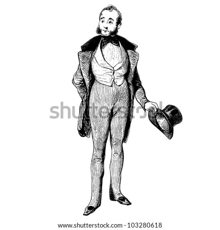 """A man of 1840 - Vintage engraved illustration - """"Les Francais"""" by L.Curmer in 1842 France - stock vector"""