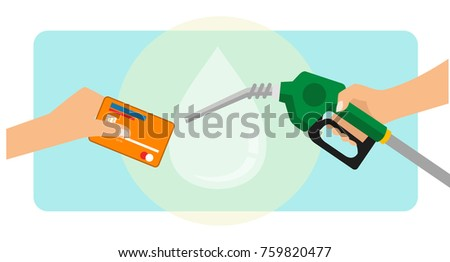 A man paying Gasoline Fuel using credit card