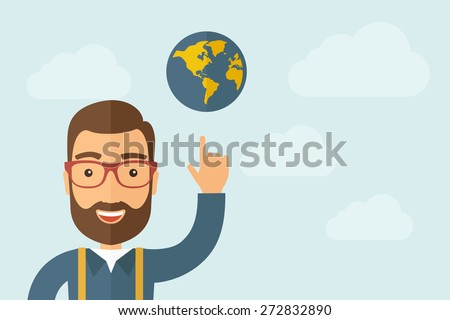 A Man pointing the globe icon. A contemporary style with pastel palette, light blue cloudy sky background. Vector flat design illustration. Horizontal layout with text space on right part. - stock vector
